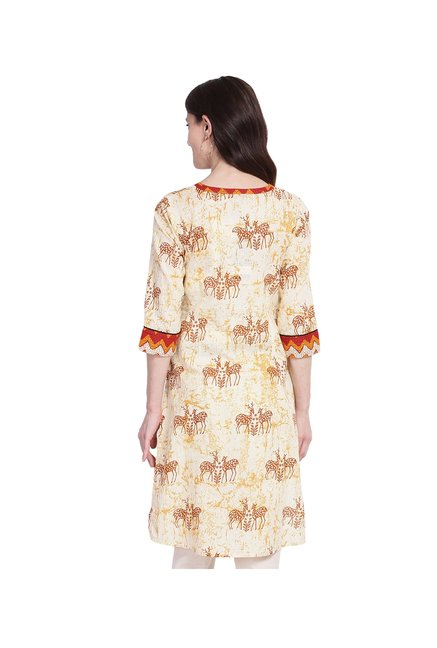 Juniper Cream Printed Cotton Kurta