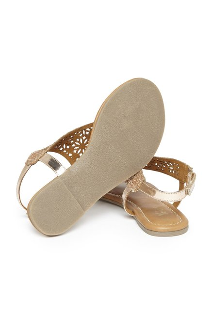 e6e656d1f53547 Buy Yellow by Westside Rose Gold Glitter Sandals For Kids Online At ...