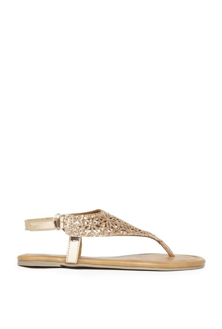 900afc27bbd957 Buy Yellow by Westside Rose Gold Glitter Sandals For Kids Online At Tata  CLiQ