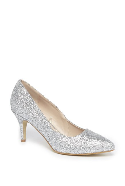 8eb1d99144a Buy LUNA BLU by Westside Silver Glitter Court Shoes For Women Online At  Tata CLiQ