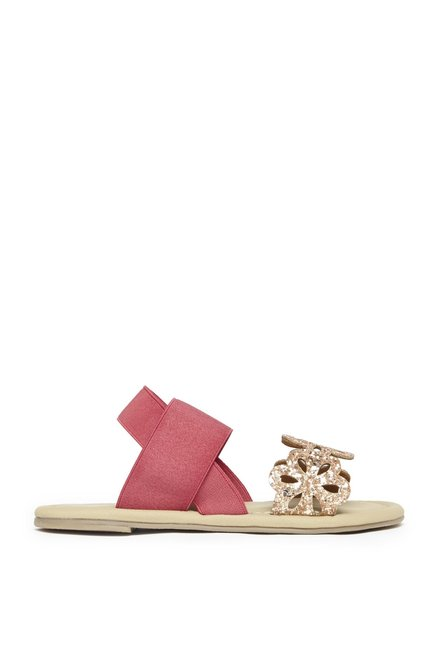 ccd2fb3080acfa Buy Yellow by Westside Rose Gold Floral Glitter Sandals For Kids Online At  Tata CLiQ