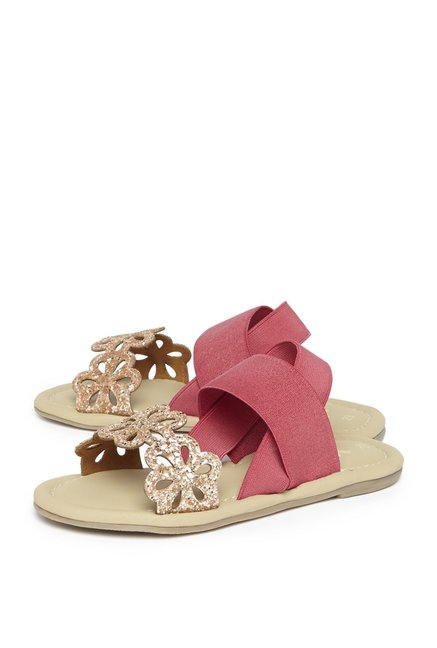 fefc047eb45c84 Buy Yellow by Westside Rose Gold Floral Glitter Sandals For Kids ...