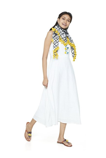 Global Desi White Striped Dress