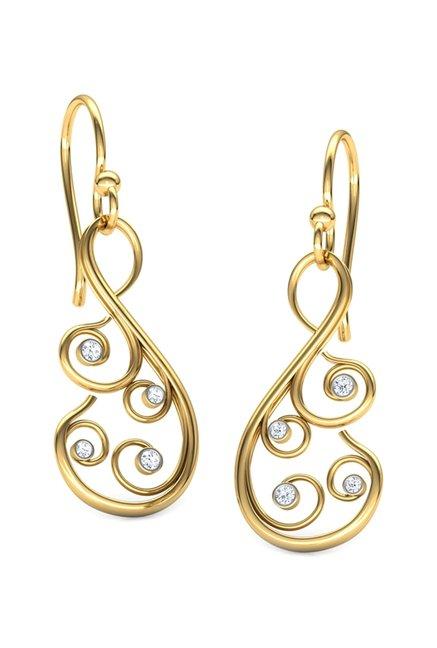 Caratlane D Vine 18k Gold 0 06 Ct Diamond Earrings