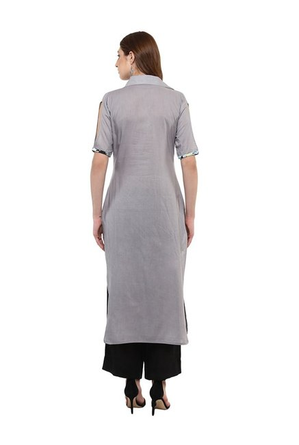 Ziyaa Grey Regular Fit Cotton Kurta