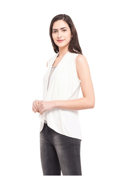 Globus White Rayon Viscose Shrug