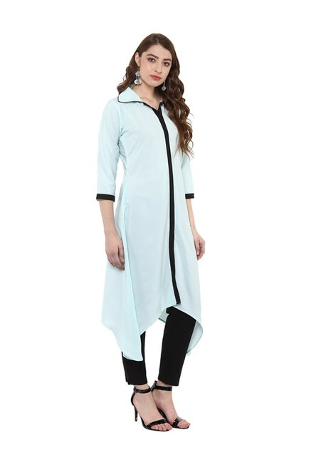 Ziyaa Blue Regular Fit Crepe Kurta