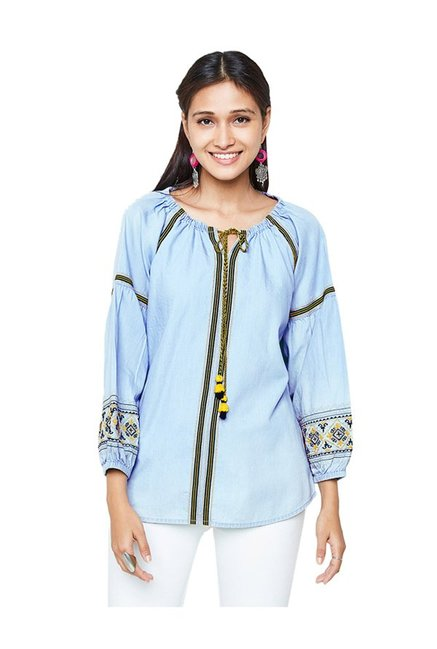ba772c14a7a Buy Global Desi Light Blue Embroidered Top for Women Online ...