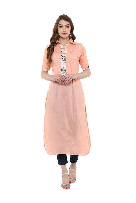 Ziyaa Peach Regular Fit Cotton Kurta