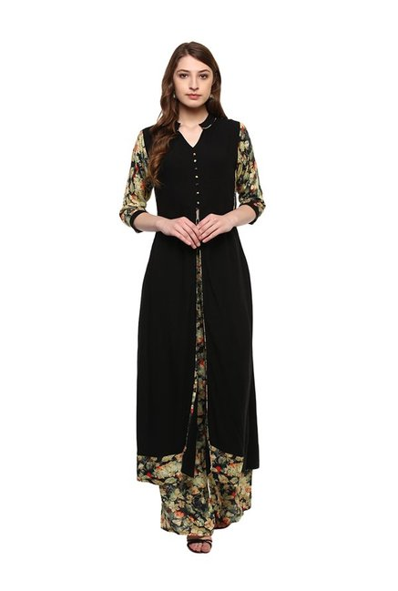 Ziyaa Black Regular Fit Rayon Kurta