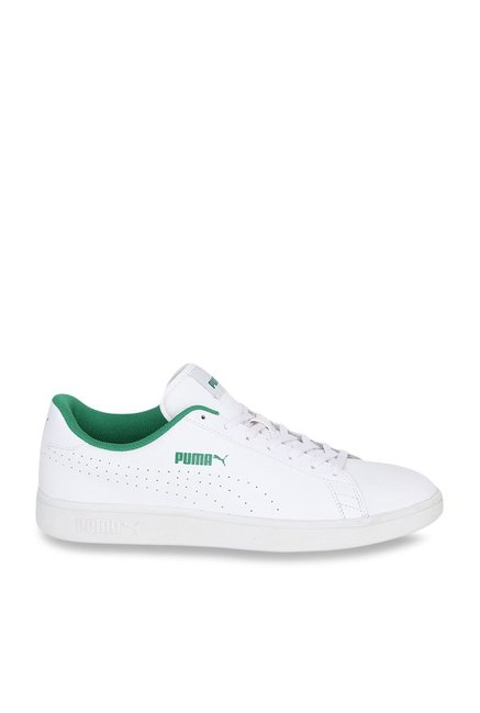 Buy Puma Smash V2 L Perf White   Green Sneakers for Men at Best ... efb4490b8