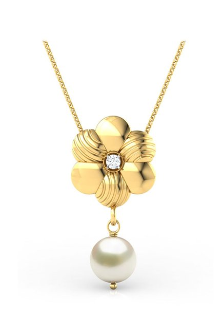 a0d0f2c76 Buy CaratLane Brushed Floral 18k Gold & 0.01 ct Diamond Pendant Online At Best  Price @ Tata CLiQ