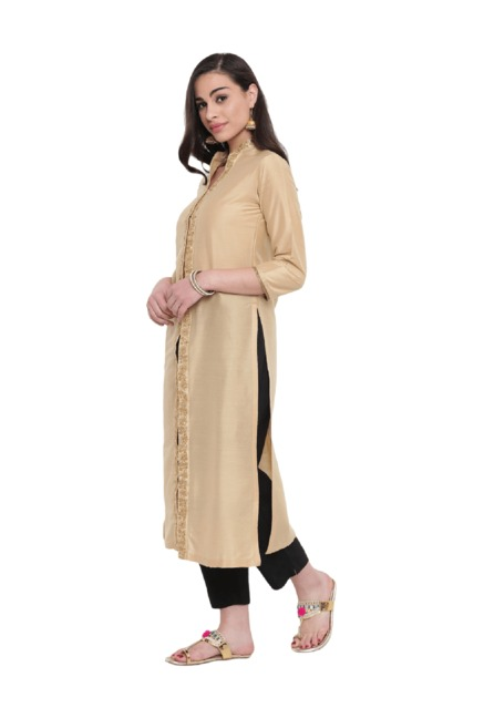 Studio Rasa Beige Embellished Cotton Silk Jacket Kurta