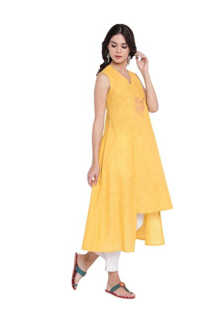 9rasa Yellow Printed High Low Cotton Kurta
