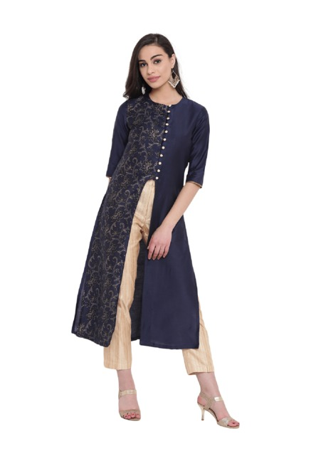 Studio Rasa Navy Printed Cotton Silk Jacket Kurta