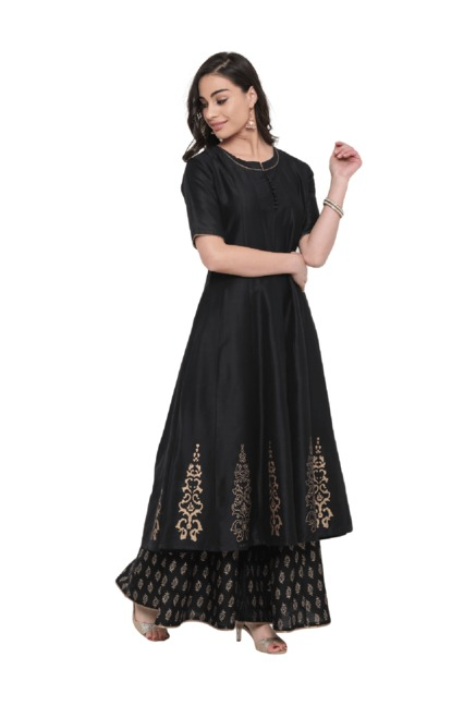Studio Rasa Black Printed Cotton Silk Kalidaar Kurta
