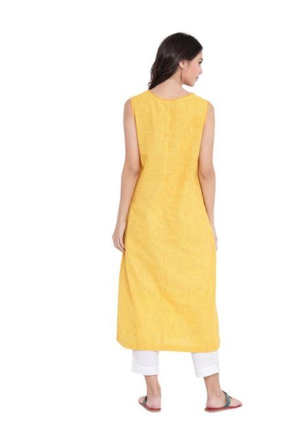 9rasa Yellow Printed Cotton Kurta