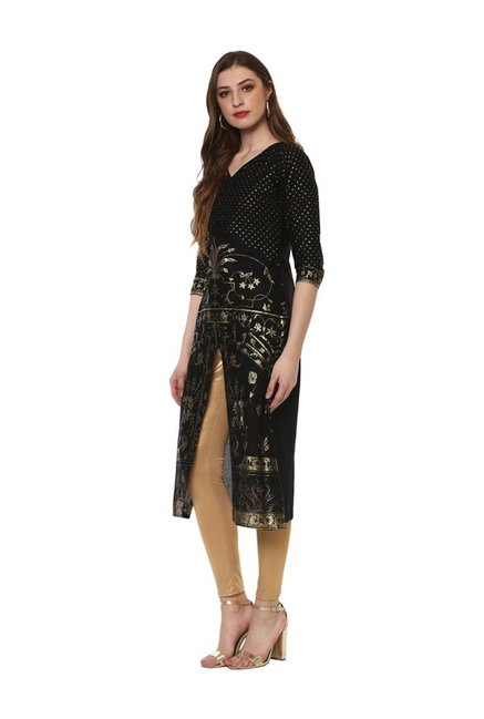 Ahalyaa Black Printed Cotton Kurta
