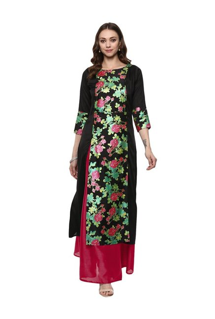 Ahalyaa Black Printed Poly Silk Kurta