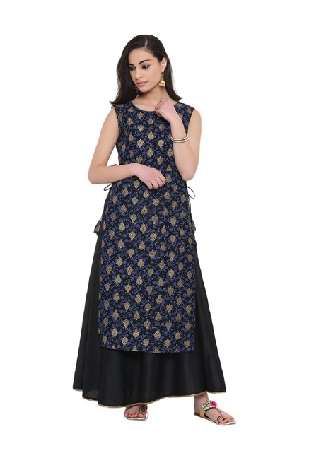 Studio Rasa Black & Blue Printed Chanderi Layered Kurta