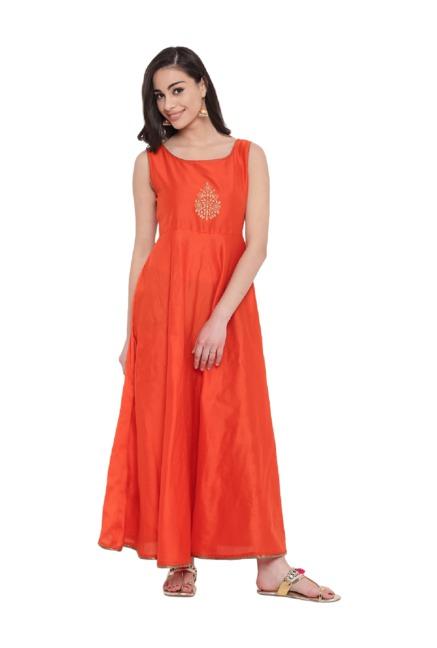 02298b9dd Buy Studio Rasa Orange Printed Jacket Layered Kurta for Women Online ...
