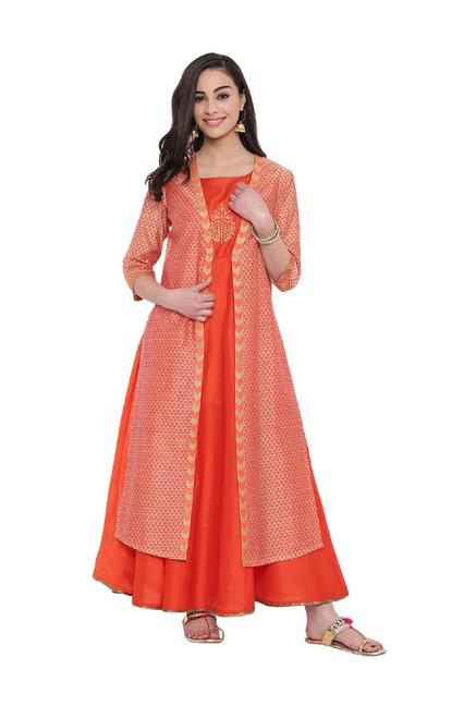 b5bb128d9 Buy Studio Rasa Orange Printed Jacket Layered Kurta for Women Online   Tata  CLiQ