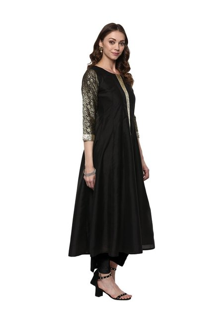 Ahalyaa Black Poly Silk Anarkali Kurta