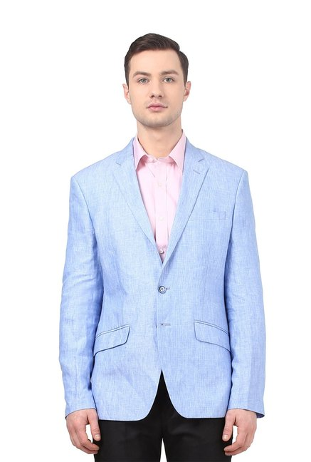 8d4f11c14e Buy Park Avenue Light Blue Full Sleeves Blazer for Men Online   Tata CLiQ