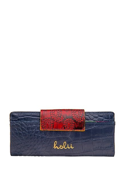 Holii Cinnamon W1 Navy & Red Textured Leather Bi-Fold Wallet