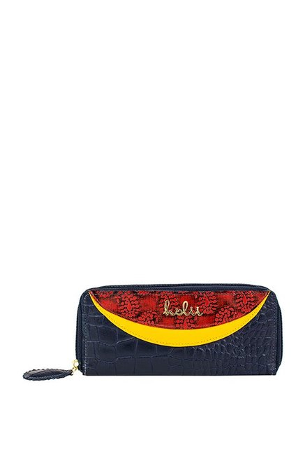 Buy Holii Cinnamon W2 Navy & Red Textured Leather Wallet For