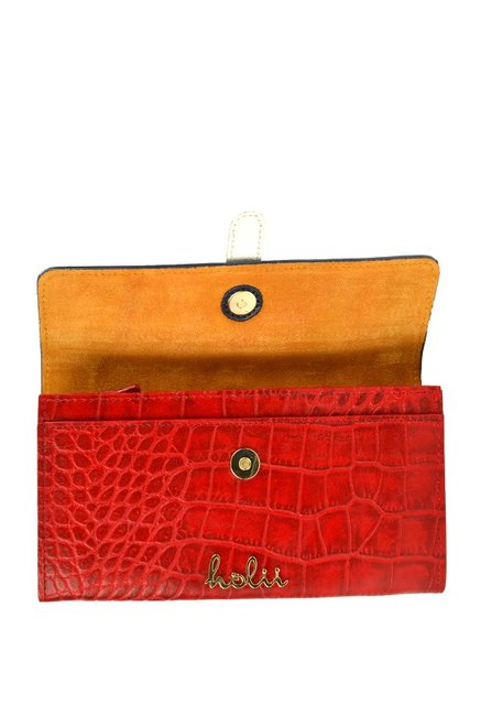 Holii Birch W1 Red & Navy Textured Leather Flap Wallet