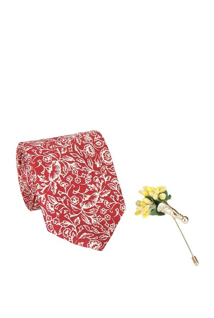 Raymond Cardinal Red & Yellow Floral Tie with Lapel Pin