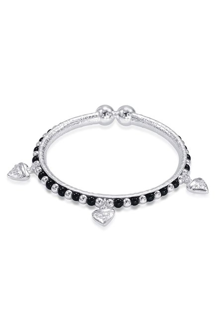 2ca4e77bde6eb Buy Taraash Sterling Silver Beaded Heart Charm Nazariya Bangles for ...