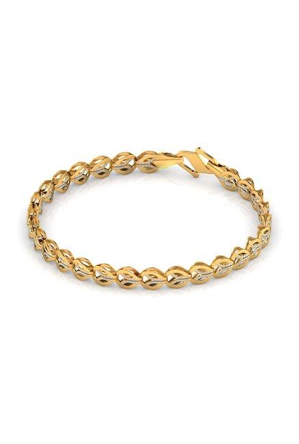 Caratlane Juana Leaf Linked 22k Gold Bracelet