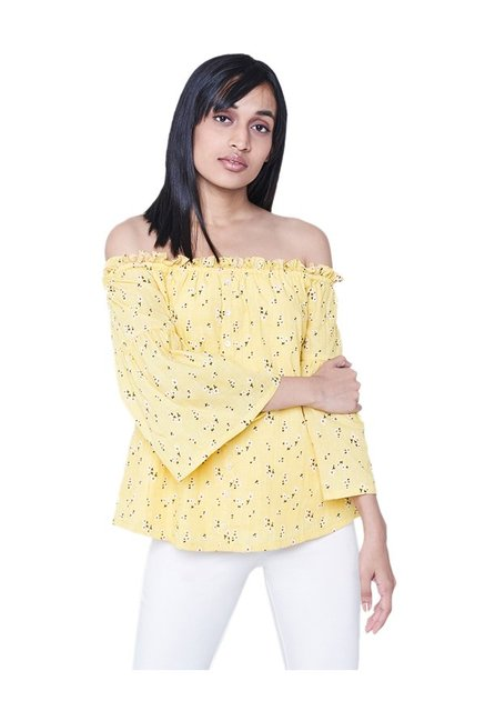 8e6d67264ab3 Buy AND Yellow Off Shoulder Top for Women Online   Tata CLiQ