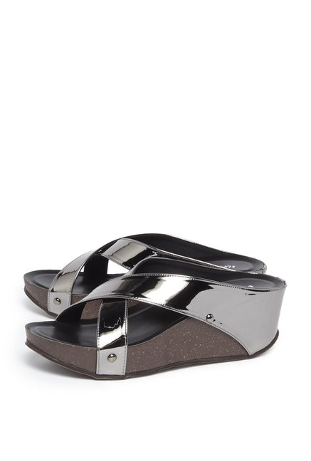 81f2de1f4 Buy LUNA BLU by Westside Pewter Wedge-Heel Sandals For Women Online ...