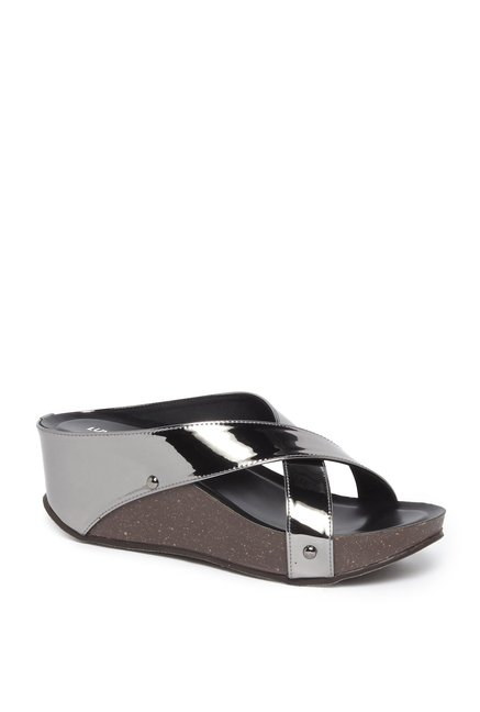 9d0d6e42b Buy LUNA BLU by Westside Pewter Wedge-Heel Sandals For Women Online At Tata  CLiQ
