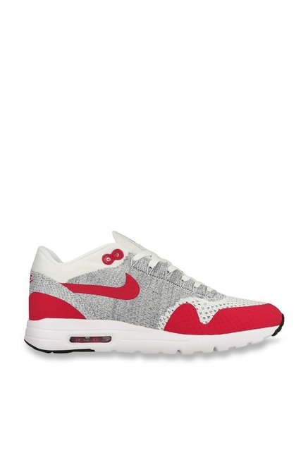 sneakers for cheap 1a5ec 6cfb7 Buy Nike Air Max 1 Ultra Flyknit Light Grey   Red Running Shoes for Women  at Best Price   Tata CLiQ