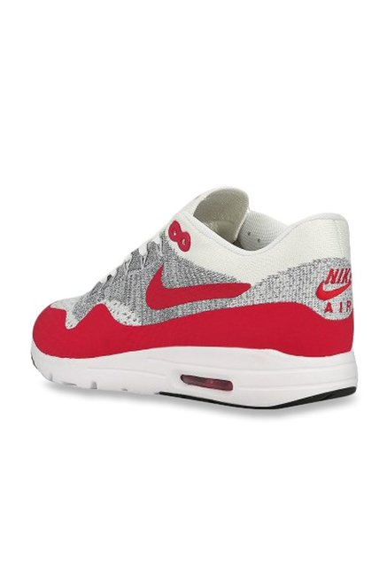 sale retailer f1a46 17eb8 Buy Nike Air Max 1 Ultra Flyknit Light Grey & Red Running ...