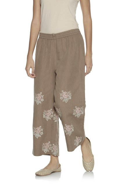 Zuba by Westside Taupe Linen Cropped Palazzos