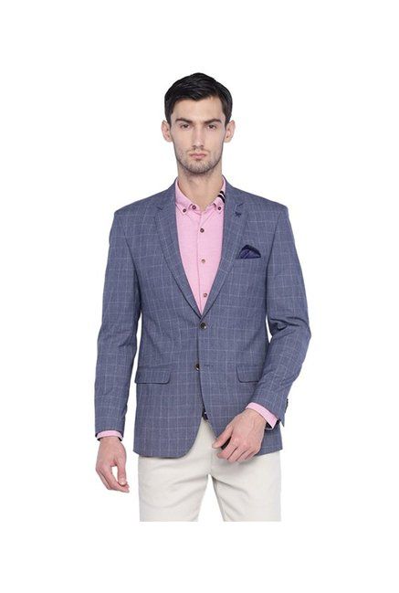 4d95a56c28 Buy Solly By Allen Solly Blue Checks Blazer for Men Online   Tata CLiQ