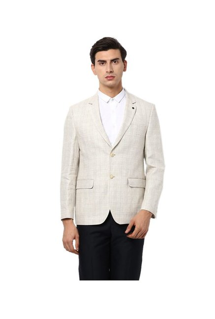e9c5785fc548 Buy Van Heusen Beige Checks Linen Blazer for Men Online   Tata ...