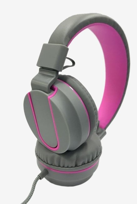 01468f0d5d7 Buy Syska POP Over the Ear Headphone (Grey/Pink) Online At Best ...