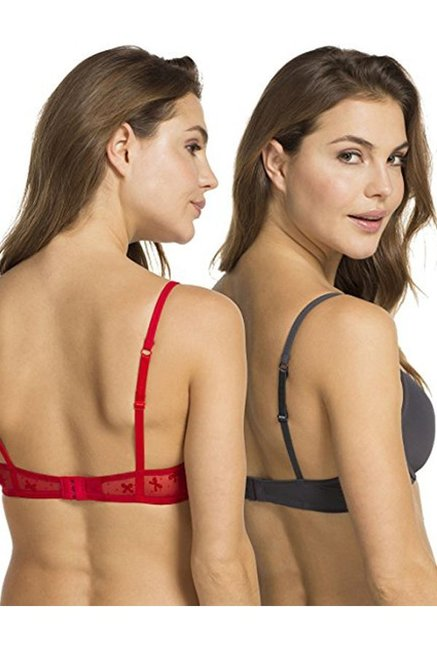 Hunkemoller Tango Red & Grey Padded Under Wired Bra (Pack Of 2)