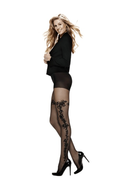 cfea0c970 Buy Hunkemoller Black Self Print Graceful Sidefloral Stockings for ...