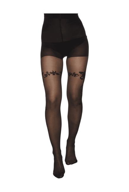 4e6222dcb Buy Hunkemoller Black Self Print Graceful Sidefloral Stockings for Women  Online   Tata CLiQ