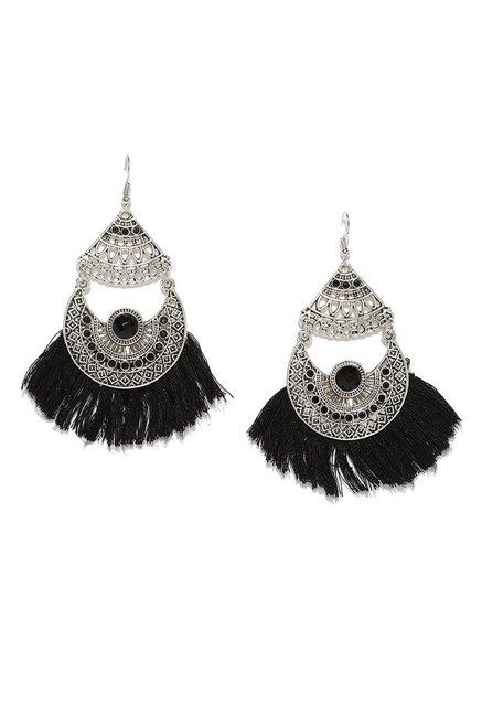 Rubans Black Metal Tel Dangler Earrings