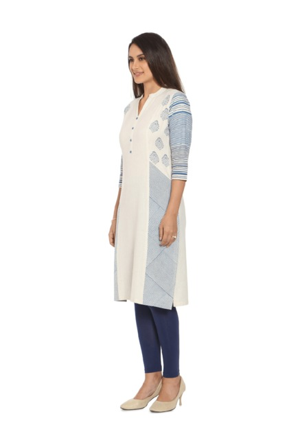 Soch Cream & Blue Printed Khadi Kurta