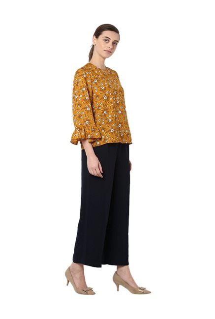6f552a4a0e7e29 Buy Van Heusen Mustard Floral Print Top for Women Online @ Tata CLiQ