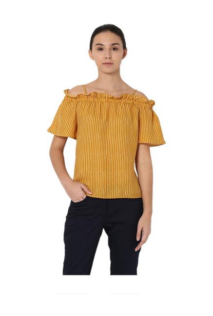 cc2a166d8fe Buy Van Heusen Mustard Striped Top for Women Online @ Tata CLiQ